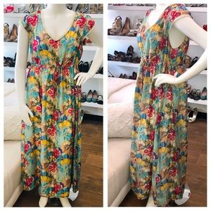 Johnny Was Floral Silk Maxi Dress